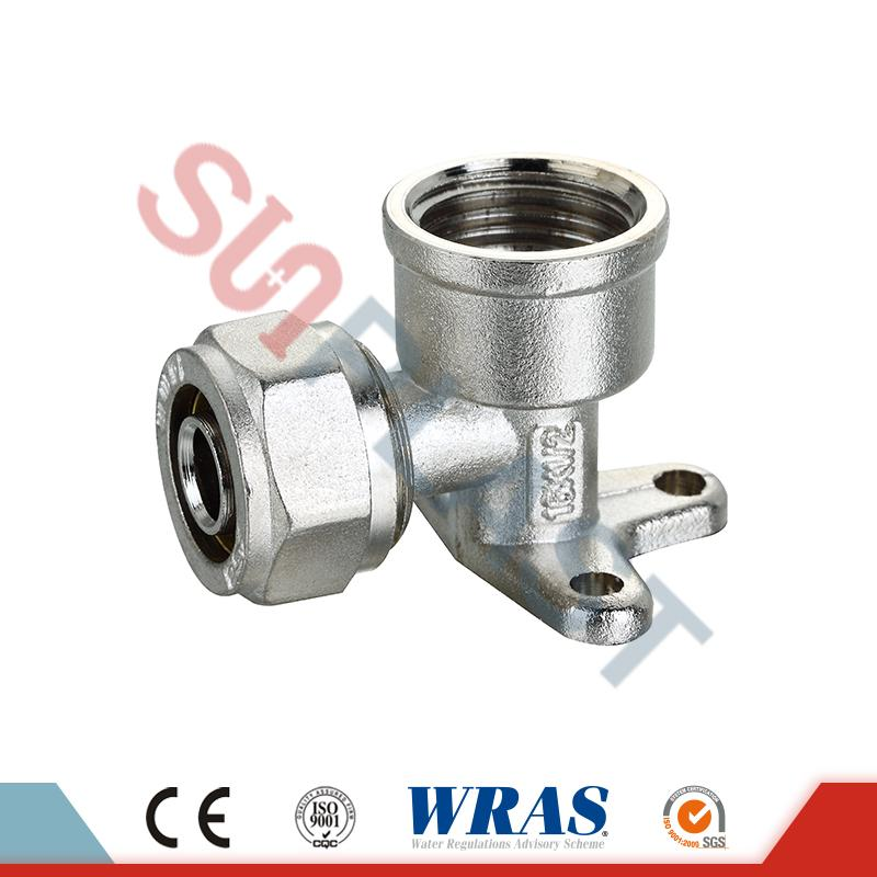 Brass Compression Wall-Plated Female Elbow For PEX-AL-PEX Multilayer Pipe
